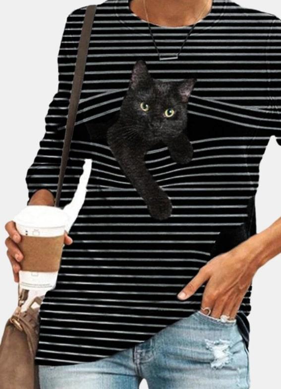 haine dama,bluza imprimata,pisici